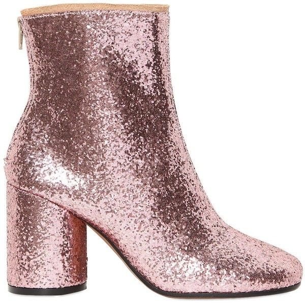 MAISON MARGIELA 80mm Glittered Ankle Boots (€215) ❤ liked on Polyvore featuring shoes, boots, ankle booties, pink, botas, pink high heel boots, ankle boots, high heel booties, short boots and back zip boots