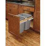 4WCTM Top Mount Double Bin Trash Can with Soft Close Slides - 35 Quart Capacity per Bin