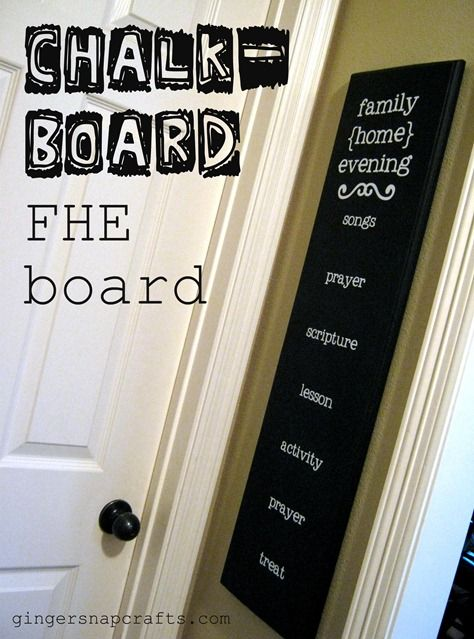 FHE Chalk-Board--not crazy about the font but this would be super cute and relatively cheap if we found someone with a silhouette...