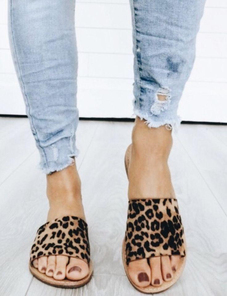 leopard print flats | Printed sandals