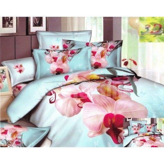 Modré posteľné obliečky s ružovou orchideou