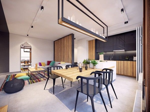 A small dining area and creative lighting design creates a perfectly cozy space for entertaining or colorful apartmentmodern