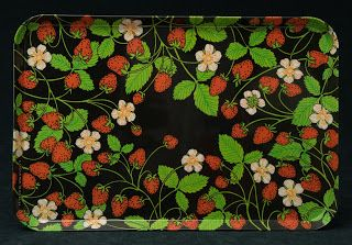 Mebel Melamine Serving Tray -- Strawberries on Black, by Luciana Roselli, large size, made in Italy.