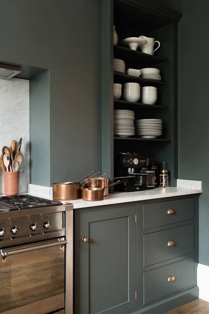 shaker cupboards | dark green cabinets with copper
