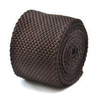 18 tinta unita marrone cioccolato skinny a maglia cravatta da Frederick Thomas