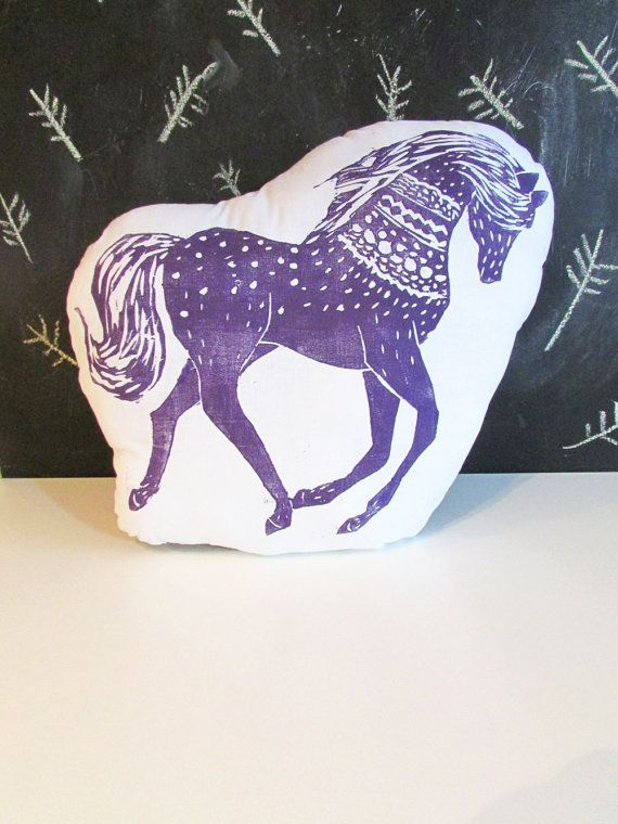 Plush Horse Throw Pillow. Hand Block Printed. Made to Order.
