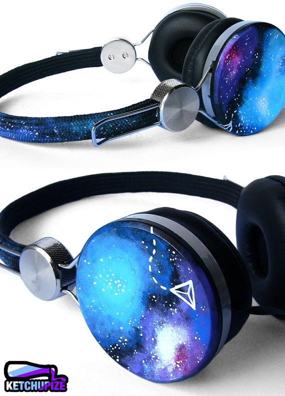 How super cool are these Space Galaxy Nebula hand painted headphones? Really super cool.