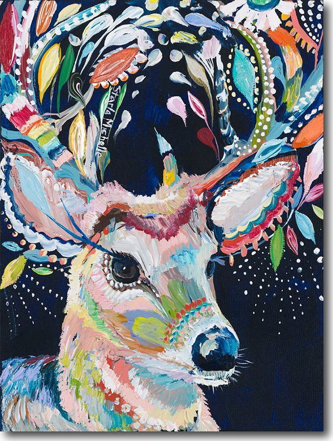 D for Deer - by Starla M Halfmann. Love her use of color, shape and texture