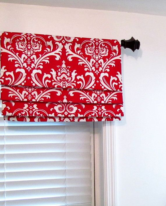 Attractive Faux Roman Shade Lined Mock Roman Valance Lipstick Red/White Damask  Handmade In The USA