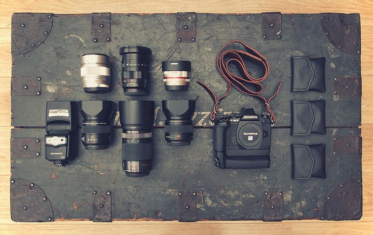 The mirrorless camera gear of street photographer Nicholas Goodden. Street photography relies on the fast autofocus of this Olympus OM-D E-M1 (with battery grip).