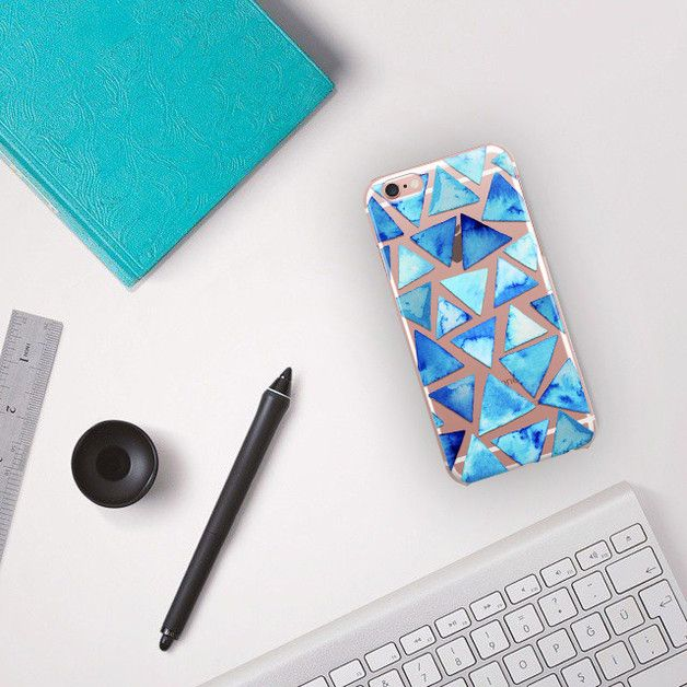 crystal clear case, iPhone, Blue Geometric case