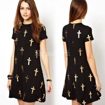 Stylish Women's Dress Short Sleeve Cross Printed Dress