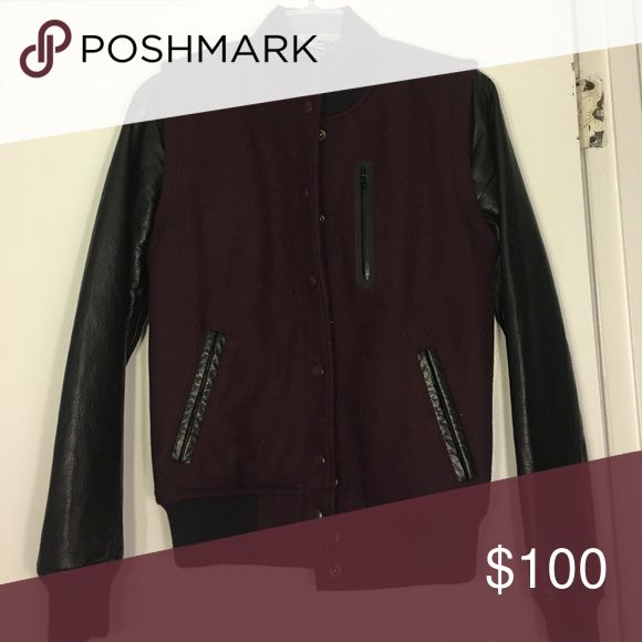 Nike Destroyer wool and leather varsity jacket Nike varsity jacket in maroon wool with genuine leather accents and detachable sleeves. .I'm open to offers on individual items or bundles - I will always accept or respond  a reasonable counter offer! My closet also has a bunch of freebies that can be yours with any purchase, so go check it out  nike Jackets & Coats