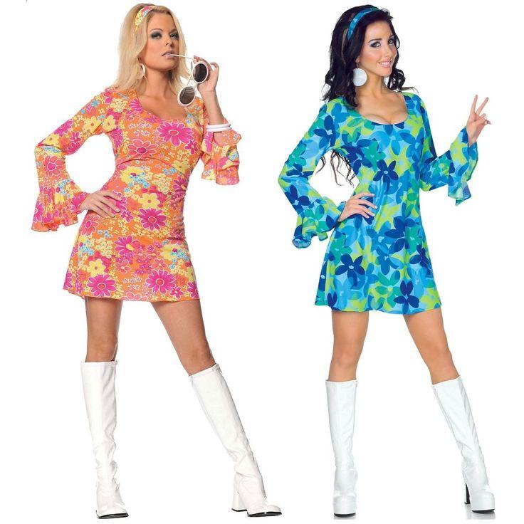 Go Go Girl Costume Adult 60s 70s Hippie Dancer Halloween Fancy Dress #Underwraps