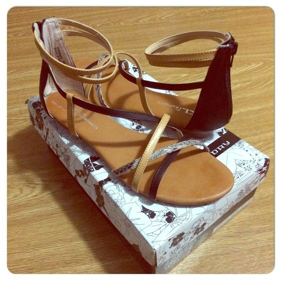 Ankle strap sandals - CL by Laundry Multimedia black, beige, & natural strappy sandals with short faux wood stacked heel. Worn twice for no more than a few hours. Excellent condition minus one small scrap and dusty soles. CL by Laundry Shoes Sandals