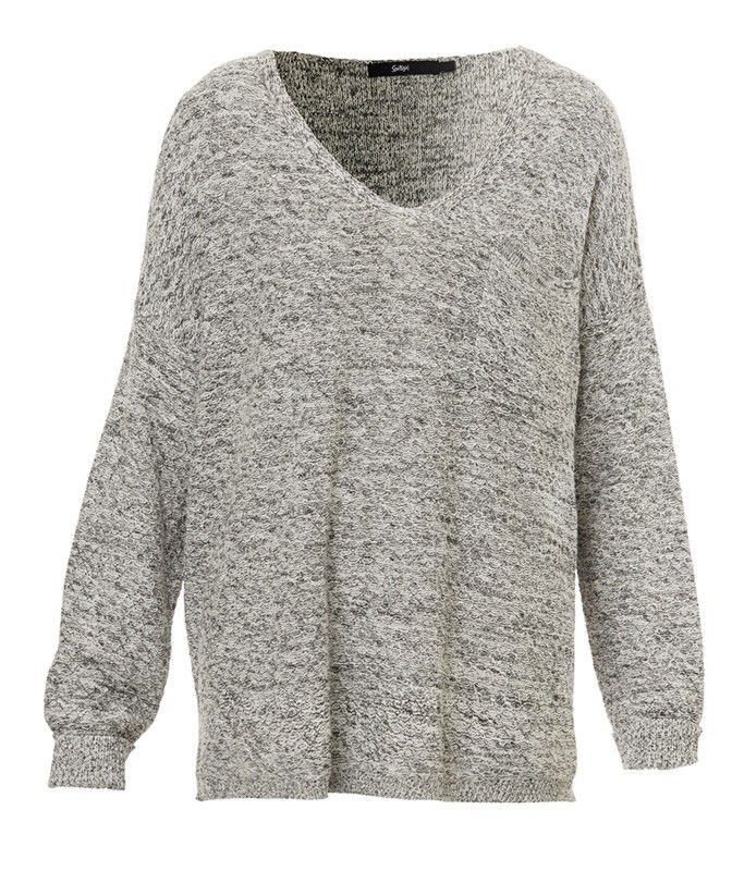 V-NECK CUFFED SLEEVE PULLOVER-Knitwear-Clothing