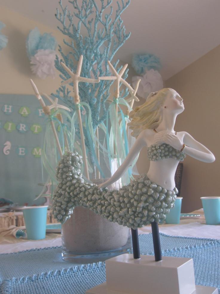 Starfish And Mermaid Centerpiece Mermaid Baby Showers