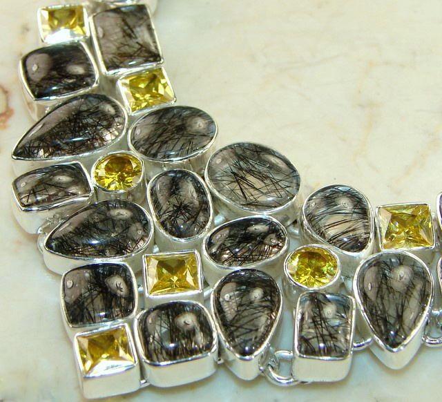 Top Grade Black Rutile & Citrine Silver Statement Necklace