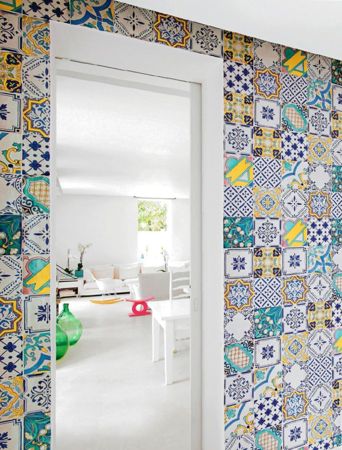 Closeup of tiles in Matteo and Susanne Thun's home on the island of Capri. - handmade and painted tiles can be customized by ceramic studios