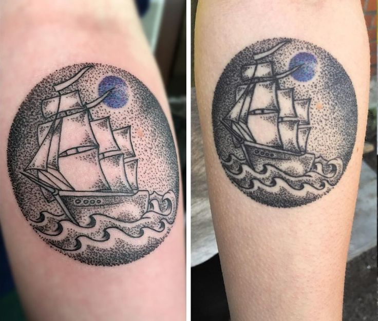 Healed ship under a blue moon and fresh lighthouse by Tommy @ East Side Tattoo Enschede the Netherlands