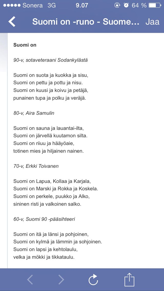 Suomi on... I can try to translate this if someone is interested