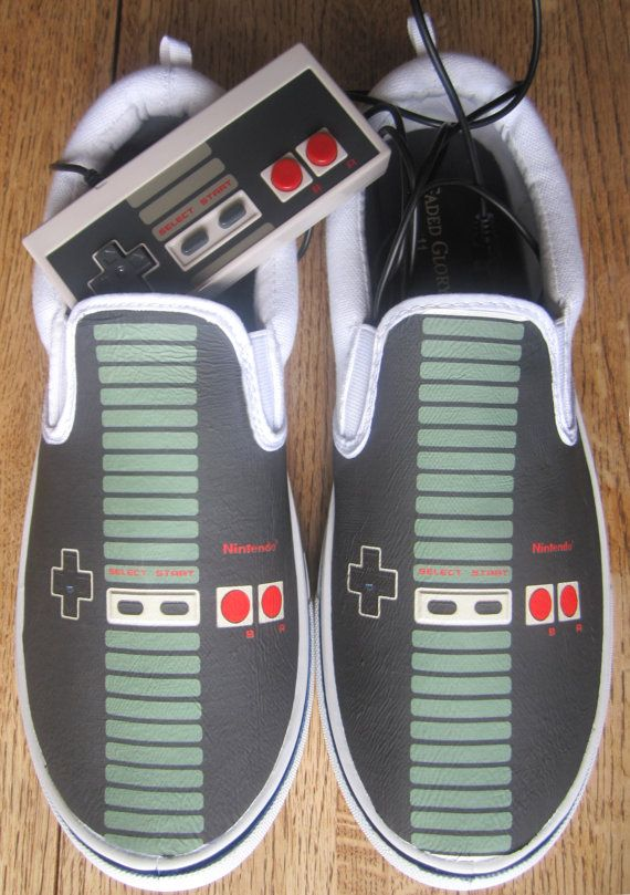 Custom NES Controller Canvas Shoes by SuperBitKicks on Etsy, $50.00: Geek, Fashion Place, Canvas Shoes, Stuff, Videogame, Video Games, Controller Canvas