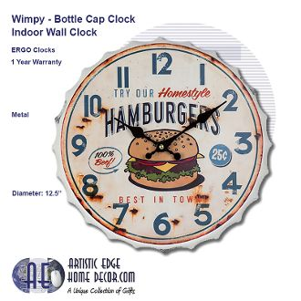 ERGO Wimpy, Bottle Cap Wall Clock