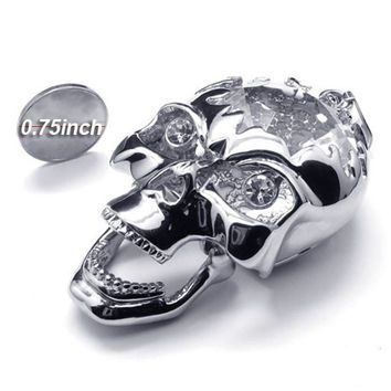 Zirconium Crystal Skull Necklace 316L Titanium Steel Jewelry for Men (PENDANT ONLY)