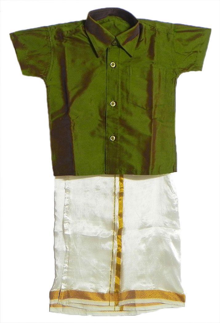 Ready+to+Wear+White+Kerala+Lungi+and+Green+Shirt+(Art+Silk)