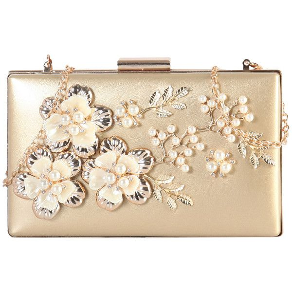 Women's Rimen & Co PU Leather Front Solid Floral Clutch with Removable... ($33) ❤ liked on Polyvore featuring bags, handbags, clutches, gold, beige clutches, beige purse, floral handbags, chain handle handbags and chain handle purses