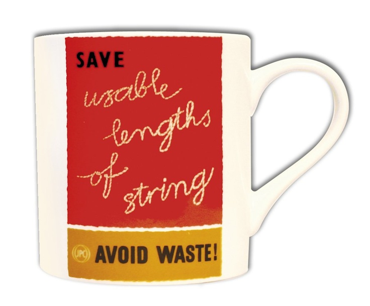 £9.99 | Waste not, want not. A fabulous mug featuring a bright red internal GPO poster by John S Woods advocating the avoidance of waste, 1957. Made from bone china. Microwave & dishwasher save.
