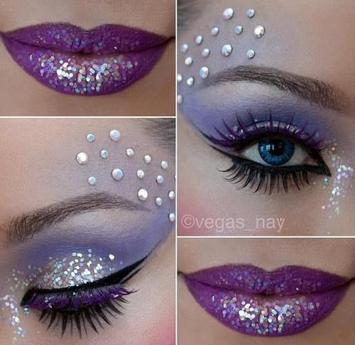 Pretty Purple Make-up with Glitter and Crystal Accents. I SO WANT THIS PALETTE OF.MAKEUP.COLORS SPECIALLY THE LIP COLOR!!