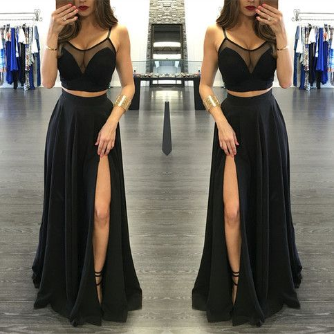 2 pieces Prom Dress,black Prom Dress,modest Prom Dress, 2 piece Evening Dress,slit prom gowns