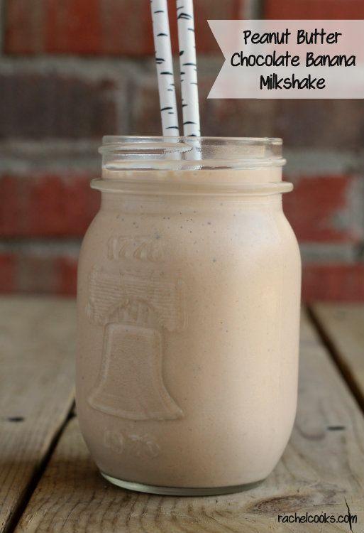 Peanut Butter Chocolate and Banana Milkshake   RachelCooks.com