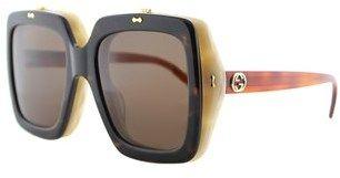 Gucci Flip Up Gg0088s 001 Havana Beige Square Sunglasses.