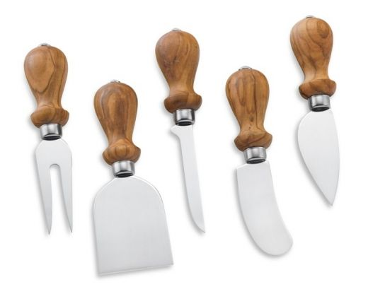The handles on these rustic (yet refined) cheese knives by Williams-Sonoma are made from aged olive wood, a Mediterranean hardwood prized for its rich coloration and intricate grain. (Cultivate.com)