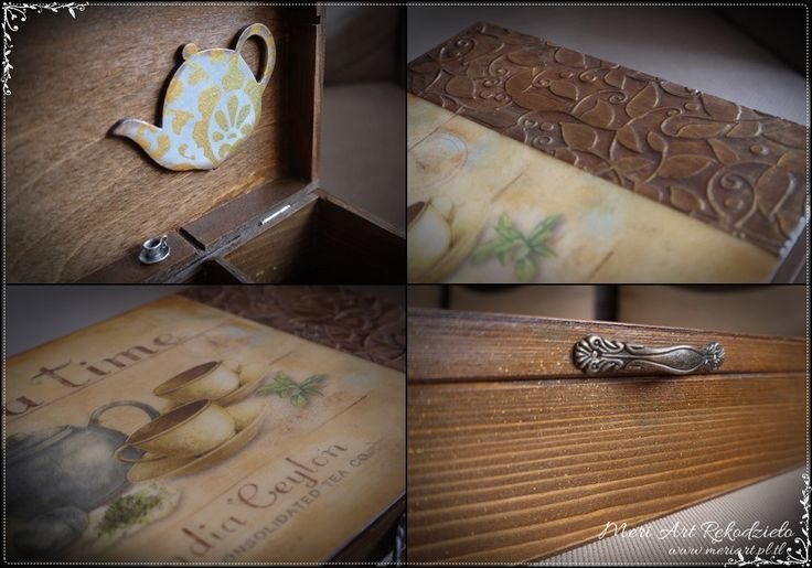 Handmade wooden tea box, pic.3 details