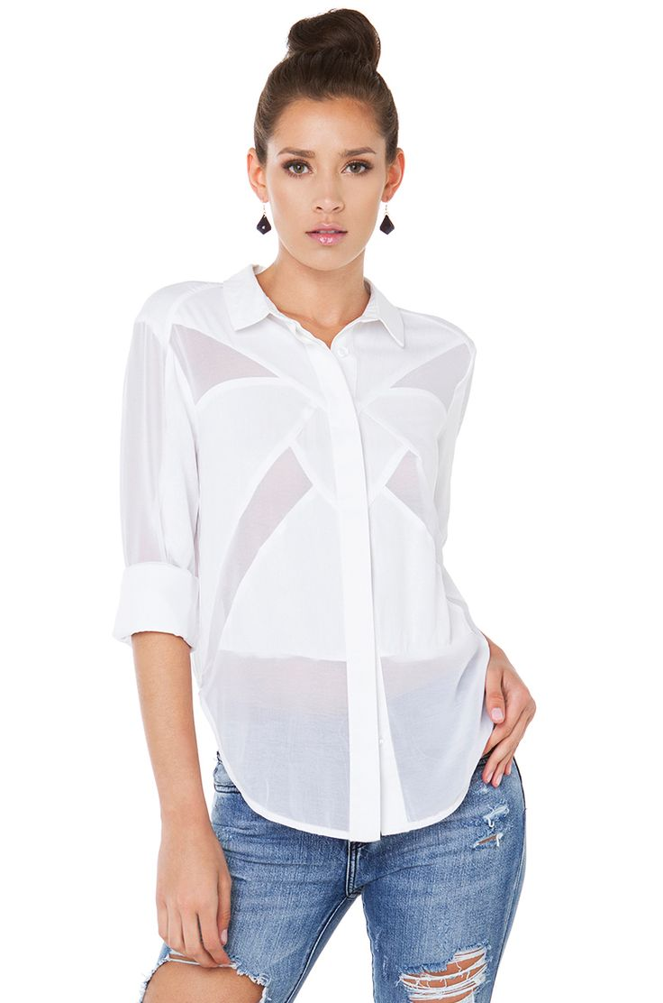 Cute White Collared Buttondown Blouse Top | AKIRA