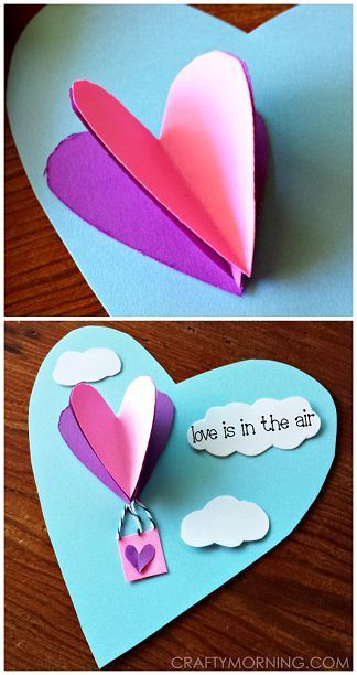 3D Heart Hot Air Balloon Valentine Craft/ Card for Kids to Make! | CraftyMorning.com