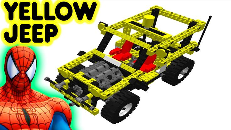 Toy Lego Yellow Jeep With Spiderman Superhero Car Video For Kids And Children #toyjeep #legojeep