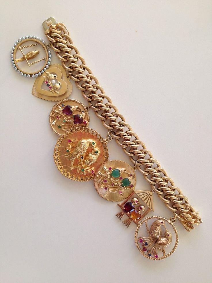 Vintage 1950s 1960s 14k Gold Charm Bracelet W Large Love Bird Charms 138 3 Grams Gold Charm Bracelet Charm Bracelet Vintage Charm Bracelet