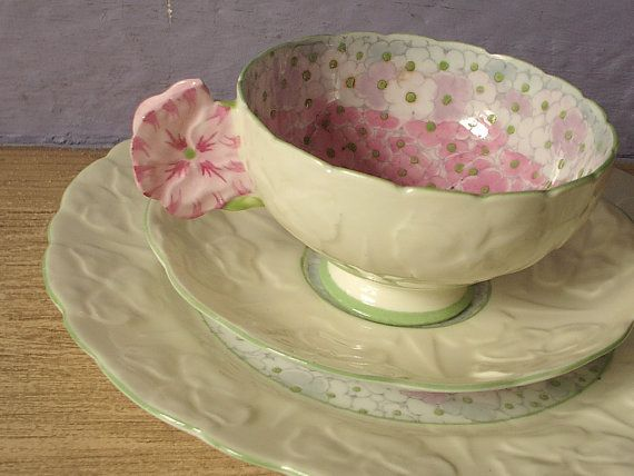 Antique Star Paragon china pink flower handle tea cup trio, vintage pink and yellow tea cup saucer and plate set, English bone china tea set on Etsy, $313.51 AUD