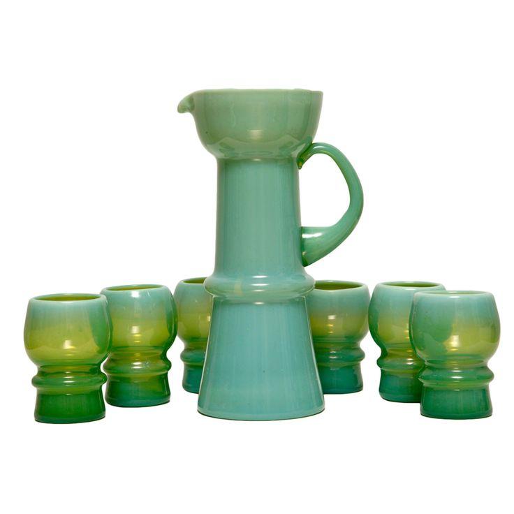Szklany komplet – dzbanek i 6 szklanek, lata 60.