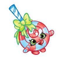 Lolli Poppins (Shopkins 1-052, 1-061) Lolli Poppins is a green lollipop with a white stick and red bow. Her variant is a pink lollipop with a blue stick and yellow bow. In artwork she is depicted as a peppermint lollipop with a blue and white striped stick and green bow. Lolli Poppins is a rare Sweet Treats Shopkin from Season One.