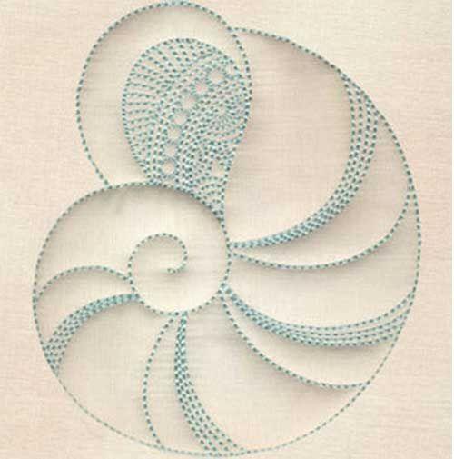 Trapunto Seashells Embroidery Design Collection                              …