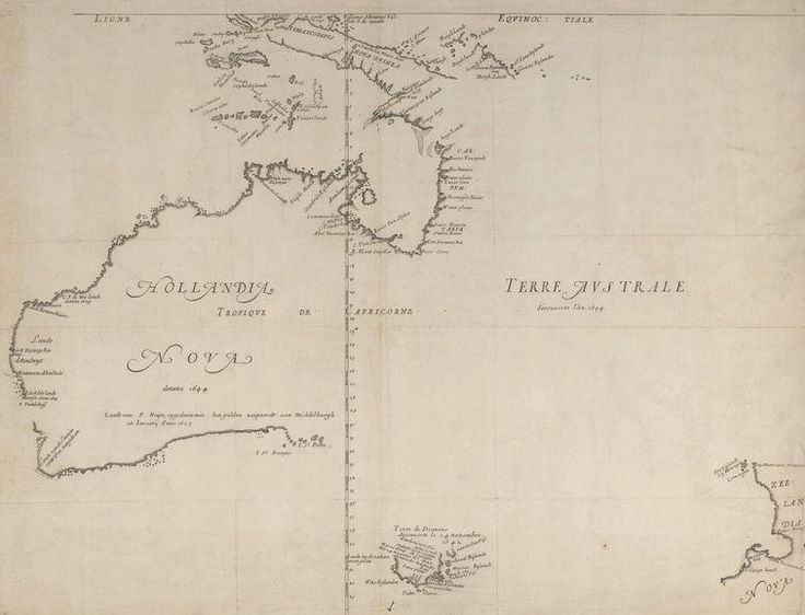 Somewhat incomplete 1659 map of Australia (New Holland) by the Dutch cartographer Joan Blaeu.
