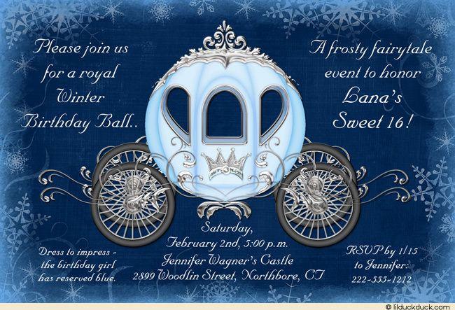 cinderella winter ball invitation