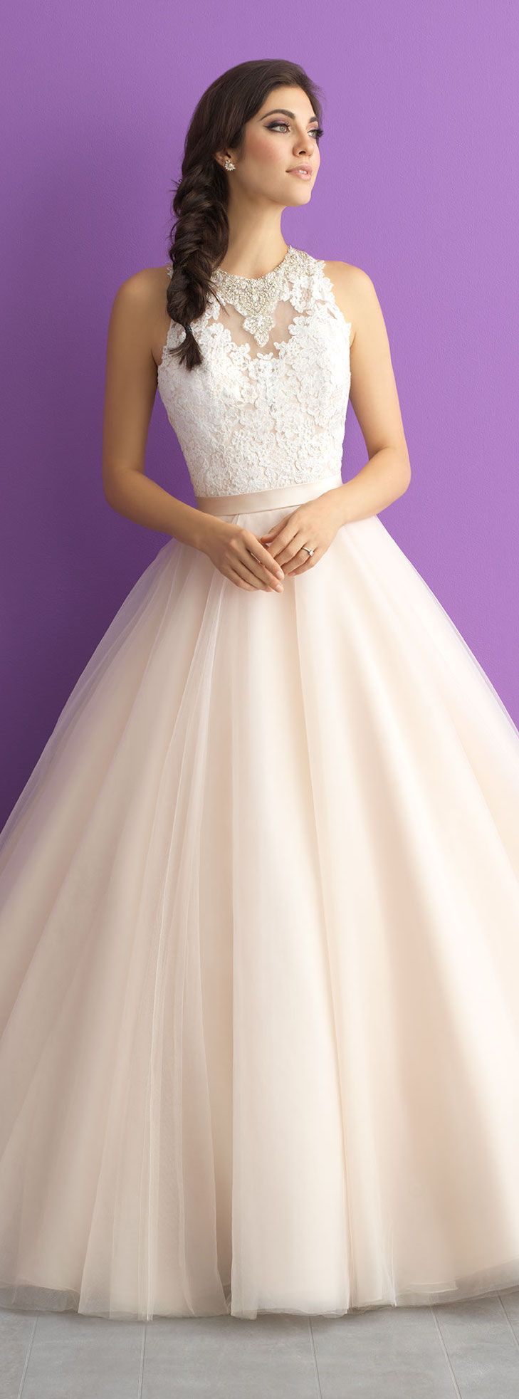 Allure Romance Wedding Dress   With a jewel encrusted collar, lace bodice and sweeping train - this ballgown is unforgettable   @llurebridals