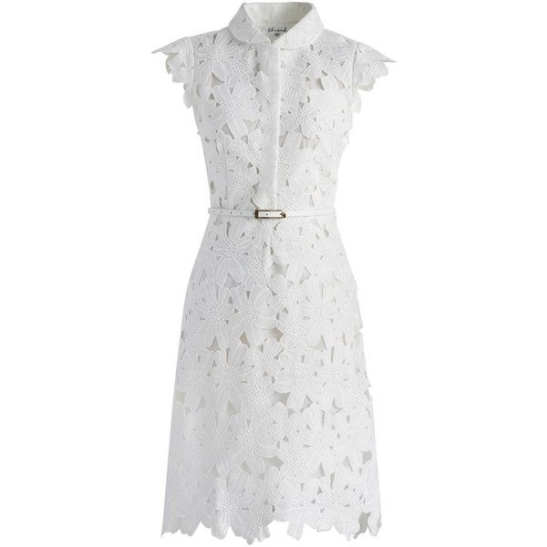 Chicwish (3,390 PHP) ❤ liked on Polyvore featuring dresses, vestidos, white, white day dress, belted shift dress, slimming dresses, knee high dresses and white cut out dress