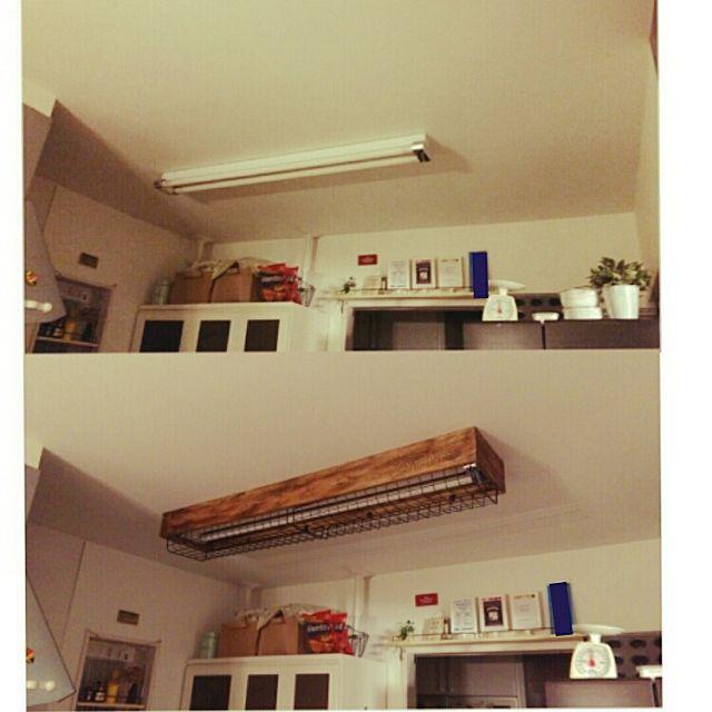 キッチンの蛍光灯に手作り蛍光灯カバーを 蛍光灯 インテリア インテリア 収納